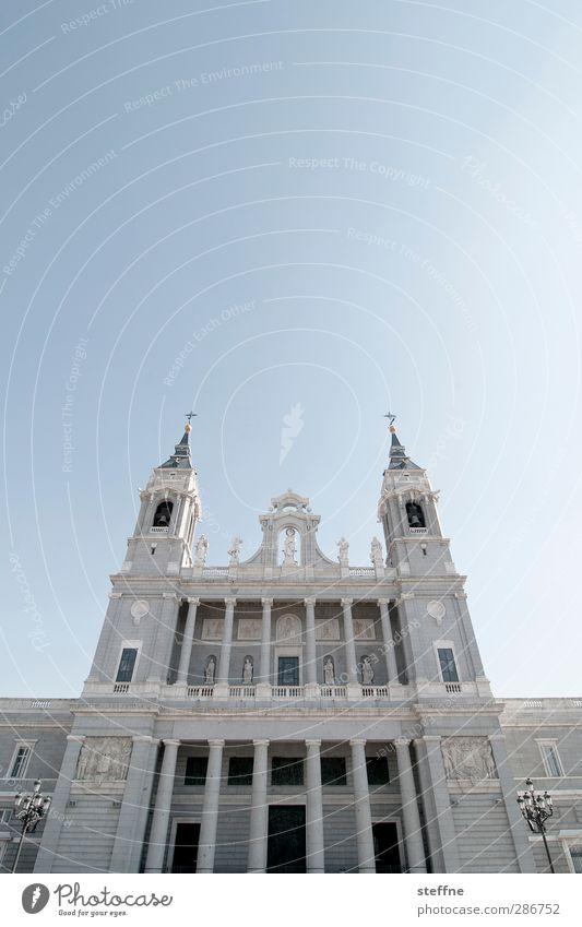 Jesus, help! Sky Cloudless sky Beautiful weather Madrid Spain Capital city Old town Church Dome Esthetic Religion and faith Prayer God Catedral de la Almudena