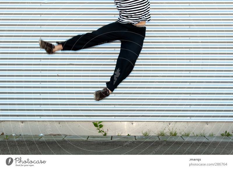 Human being Youth (Young adults) Joy Adults Young man Happy Funny Style Jump 18 - 30 years Line Exceptional Flying Facade Masculine Success