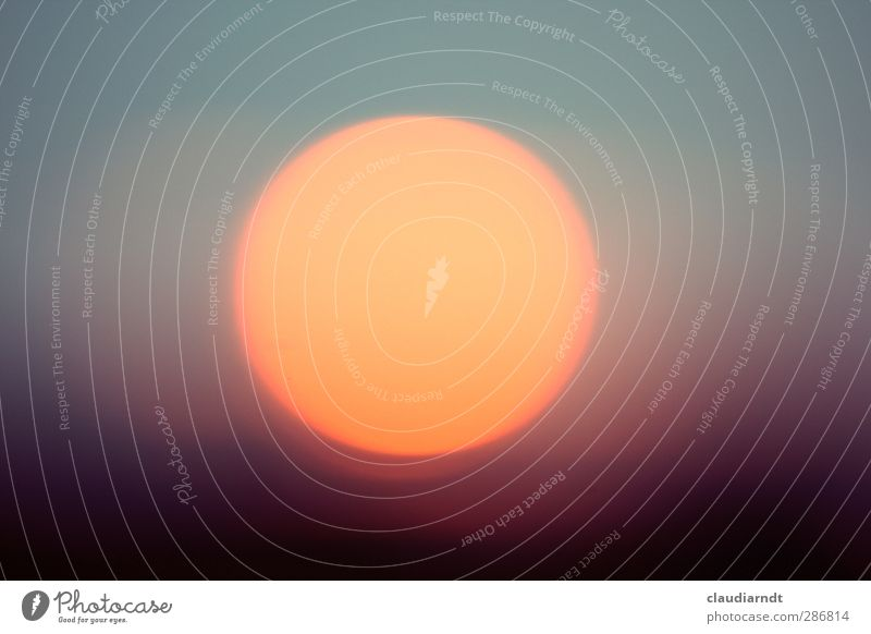 fireball Elements Sky Cloudless sky Sun Sunlight Beautiful weather Illuminate Hot Warmth Violet Orange Turquoise Geometry Circle Fireball Colour photo