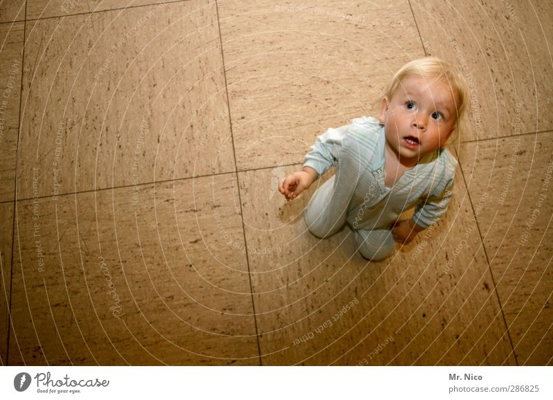 mini Room Toddler 1 Human being 1 - 3 years Blonde Brash Small Happy Floor covering PVC Pyjama Curiosity Observe Discover Crouch Shadow Watchfulness Interest