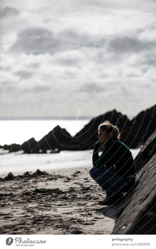 Human being Woman Sky Nature Youth (Young adults) Ocean Beach Loneliness Clouds Landscape Adults Young woman Wall (building) Life Feminine Emotions