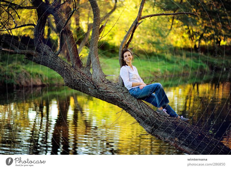 wonder lake Woman Adults 1 Human being 18 - 30 years Youth (Young adults) Environment Nature Water Tree Park Lake Joy Happy Happiness Optimism Success Power