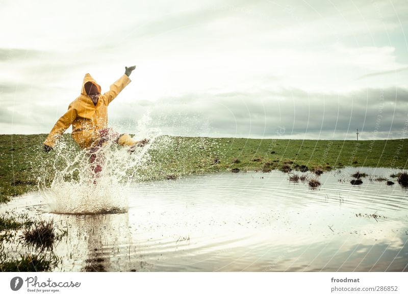 black friday - splish splash Joy Human being Masculine Young man Youth (Young adults) Man Adults 1 Nature Water Drops of water Sky Storm clouds Autumn Winter