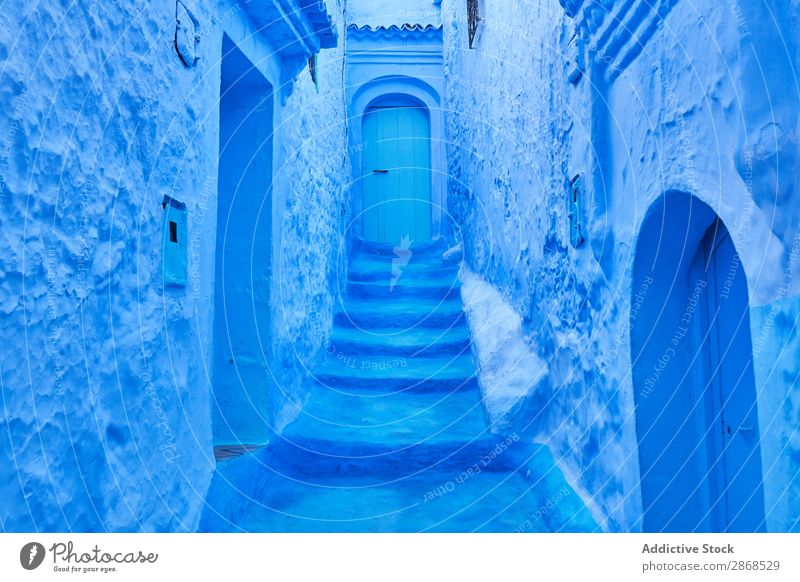 Narrow way to door between old buildings Door Building Marrakesh Morocco Amazing Blue Ancient Stone House (Residential Structure) Old Architecture Abstract