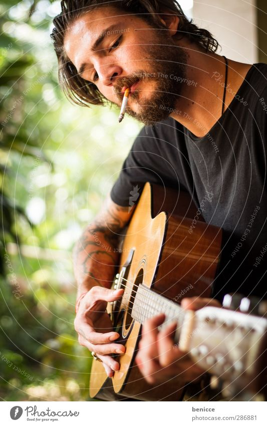strings and smoke II Man Human being Guitar Playing Smoking Tobacco products Cigarette Facial hair Beard Musician Composer Rocker Tattoo Tattooed Nature