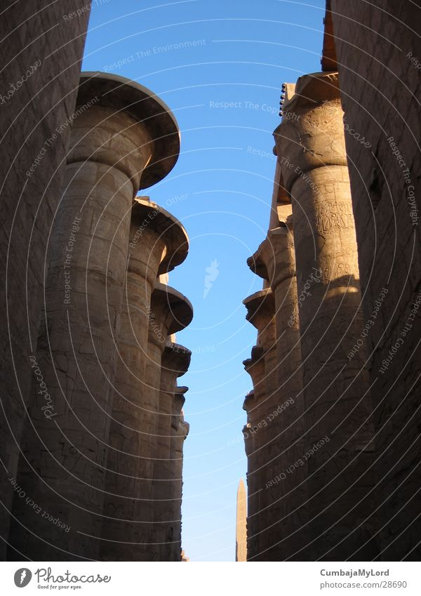 Columns without roof Egypt Temple Hieroglyph Historic