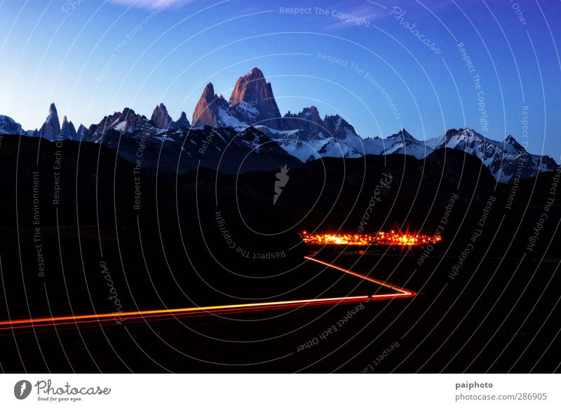 Fitz Roy Mountain and Town Landscape at night Sky Blue Vacation & Travel Summer Clouds Sports Hiking Adventure River Pure Brook Remote Chile Patagonia