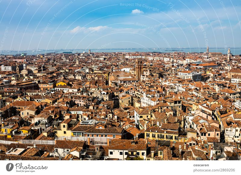 Aerial view of Venice from the bell tower Sky Vacation & Travel Old Summer Town Beautiful Landscape Red Ocean House (Residential Structure) Architecture Spring