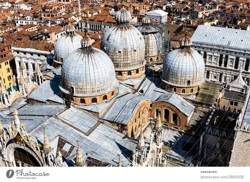 Panoramic aerial view of Venice with St. Mark's cathedral domes Vacation & Travel Tourism Ocean Island Carnival Landscape Spring Summer Town Capital city