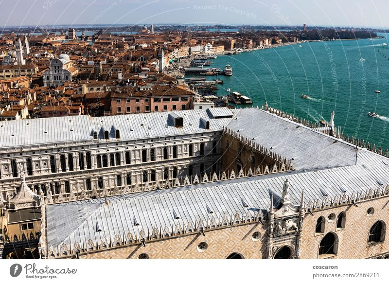 Aerial view of Piazza San Marco from the Campanile Sky Vacation & Travel Old Summer Blue Town Beautiful Landscape Sun Ocean Architecture Religion and faith