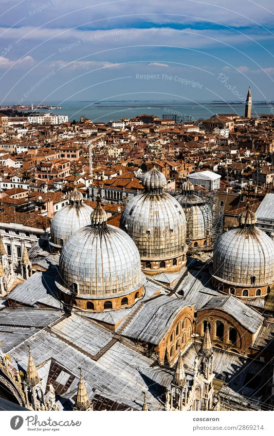 Panoramic aerial view of Venice with St. Mark's cathedral domes Vacation & Travel Tourism Ocean Island Landscape Town Capital city Skyline Church Dome Places