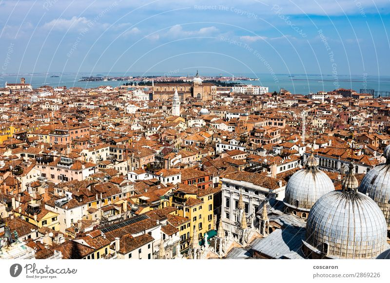 Aerial view of Venice from the bell tower Beautiful Vacation & Travel Tourism Summer Ocean House (Residential Structure) House building Landscape Sky Coast Town