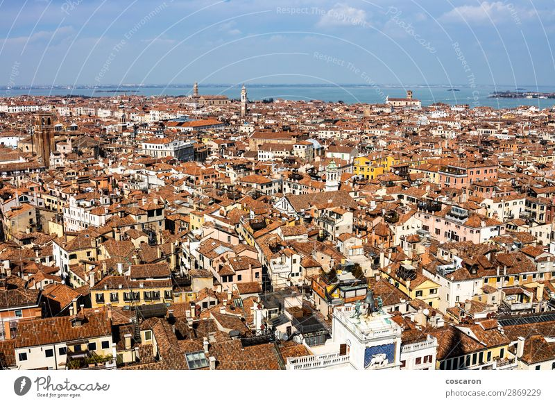 Aerial view of Venice from the bell tower Sky Vacation & Travel Old Blue Town Beautiful Landscape Red Ocean House (Residential Structure) Street Architecture