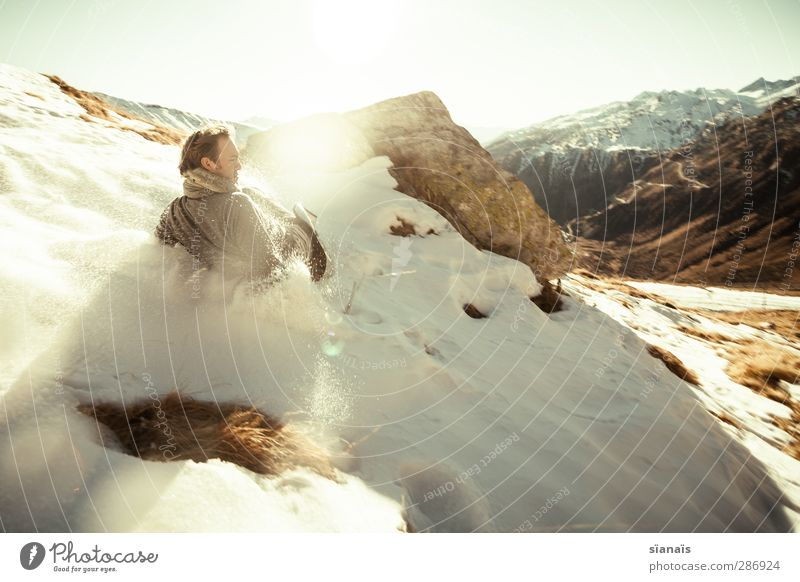 Human being Nature Man Winter Adults Life Snow Funny Playing Masculine Ice Creativity Dangerous Speed Joie de vivre (Vitality) Idea