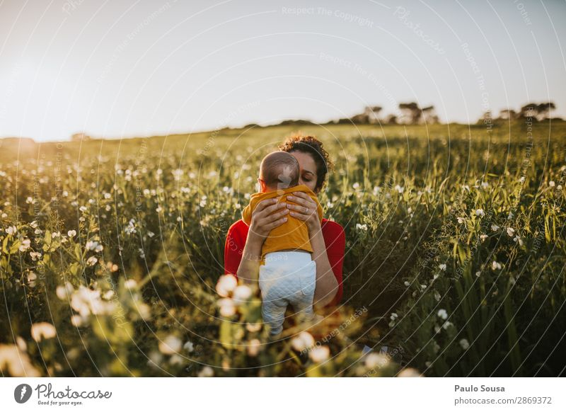 Mother and Baby in Nature Child Human being Youth (Young adults) Young woman Green Red Healthy 18 - 30 years Lifestyle Adults Love Spring Natural Feminine Happy