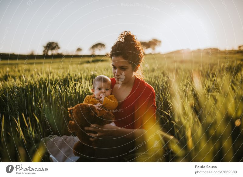 Mother with daughter in the fields motherhood Together togetherness Authentic Caucasian Autumn Spring Parents Child Family & Relations Woman care Love Happiness