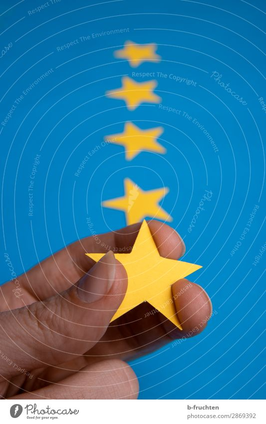 Five stars Services Advertising Industry Business Career Success Team Fingers Stars Sign Select Touch To hold on Blue Yellow Star (Symbol) 5 Quality