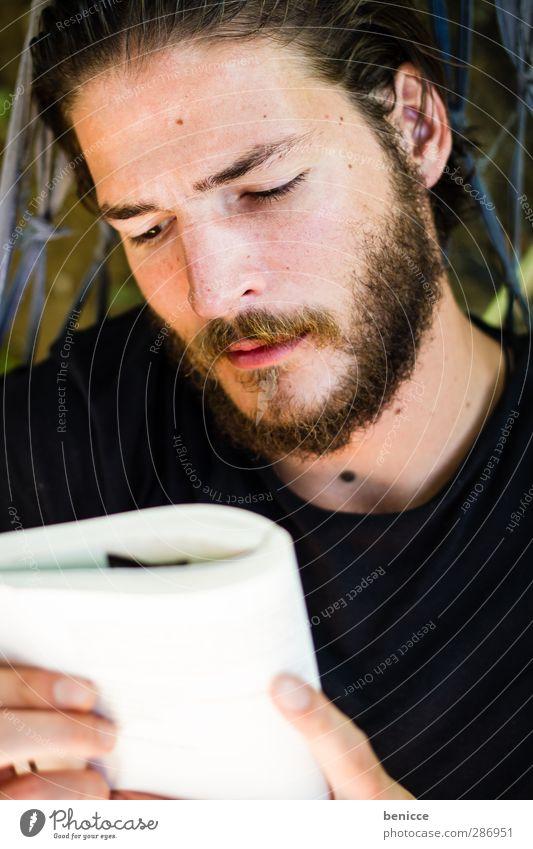reader Man Human being Youth (Young adults) Young man Facial hair Beard Book Reading Hammock Lie Relaxation Calm Novel Vacation & Travel European Caucasian