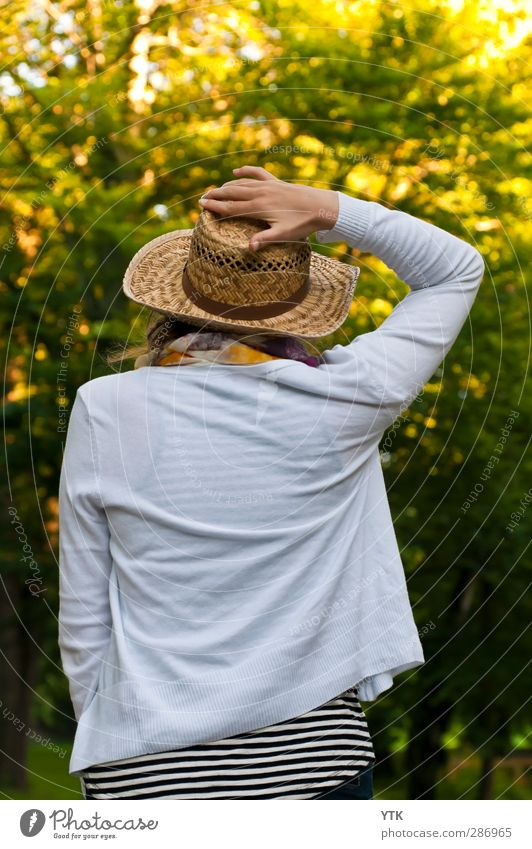 Lady with Hat. Human being Masculine Young woman Youth (Young adults) Woman Adults Body Head Arm 1 18 - 30 years Environment Nature Plant Tree Garden Park