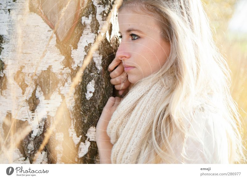 Human being Nature Youth (Young adults) Beautiful Adults Environment Young woman Feminine 18 - 30 years Bright Blonde Tree bark