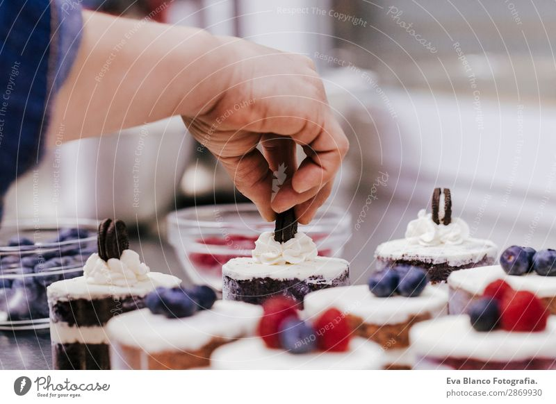 close up view of woman preparing pastries Food Dough Baked goods Bread Roll Croissant Cake Nutrition Eating Breakfast Workplace Kitchen Industry Trade Feminine