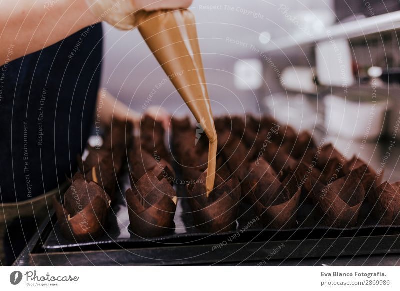 close up view of woman hand in pastry Dessert Shopping Work and employment Feminine Woman Adults Hand 1 Human being 45 - 60 years Workwear Make Fresh Quality