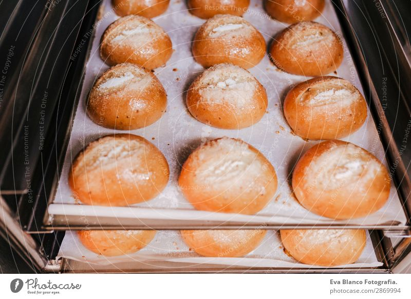 close up view of bread on strays Bread Roll Nutrition Breakfast Diet Kitchen Fresh Hot Delicious Rich Brown White Yeast Meal Organic Flour background whole