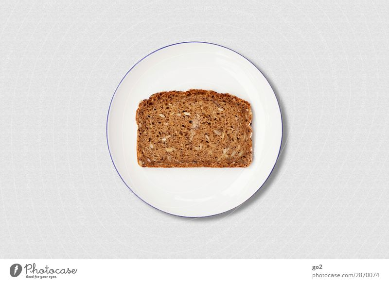 Bread on plate Food Dough Baked goods Nutrition Breakfast Organic produce Vegetarian diet Diet Fasting Plate Healthy Eating Esthetic Simple Delicious Round