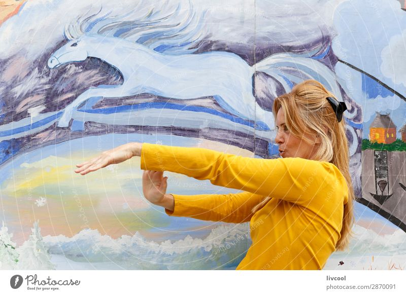 dancing in the morning Lifestyle Design Happy Relaxation Dance Human being Feminine Woman Adults Female senior 1 45 - 60 years Park Blonde Horse Think Flying