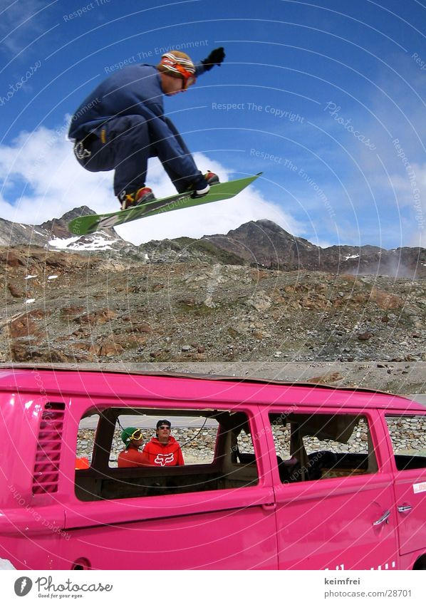 Sun Winter Snow Style Sports Pink Jump Tall Posture Snowboard Neon Snowboarding Wrecked car Snowboarder Van Bright Colours
