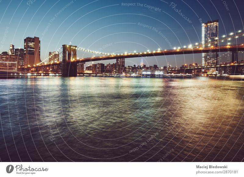 Brooklyn Bridge at blue hour, New York. Vacation & Travel Trip Sightseeing City trip Sky River Skyline Populated High-rise Building Architecture Dark Moody