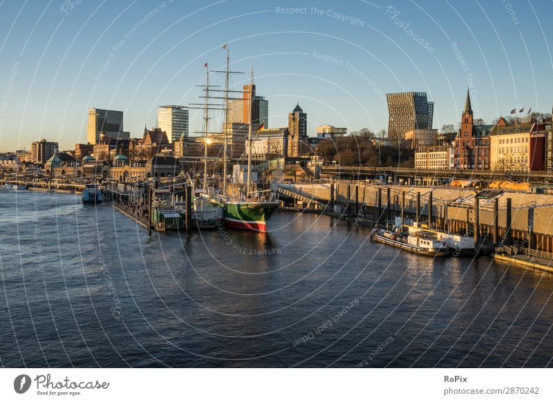 Port of Hamburg Vacation & Travel Tourism Trip Sightseeing City trip Cruise Ocean Economy Trade Architecture Environment Nature Landscape Water Cloudless sky