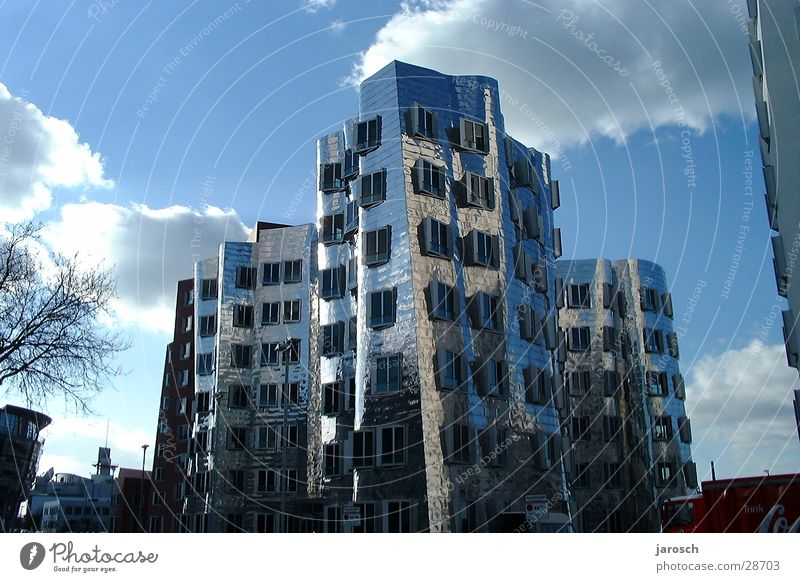 House (Residential Structure) Clouds Graffiti Architecture Duesseldorf Blue sky