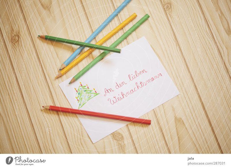 wish list Christmas & Advent Paper Pen Wood Joy Happiness Anticipation Letter (Mail) Piece of paper Santa Claus Word cursive Desire Colour photo Interior shot