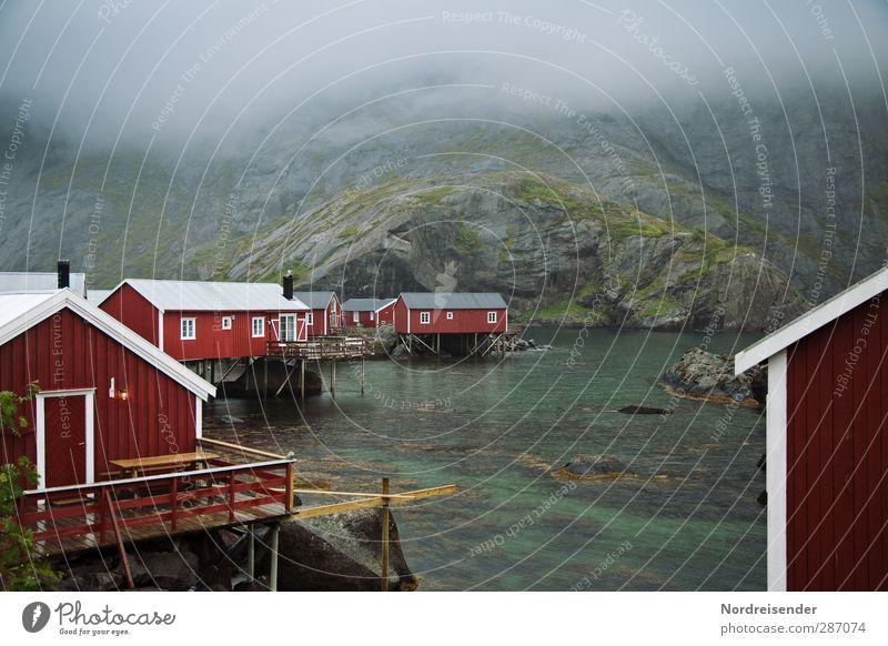 rain Lifestyle Senses Calm Vacation & Travel Tourism Ocean Nature Elements Climate Bad weather Fog Rain Coast Bay Fjord Fishing village Deserted
