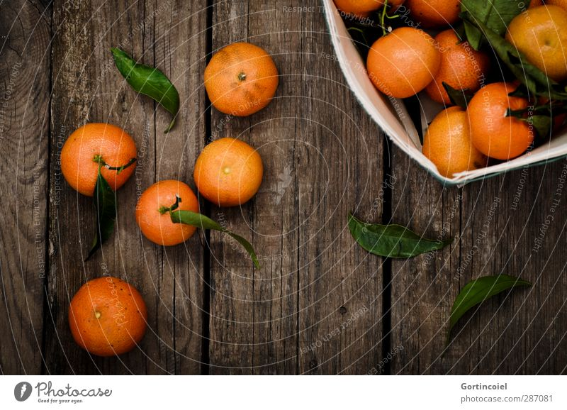 satsuma Food Fruit Nutrition Vegetarian diet Diet Slow food Fresh Delicious Sour Sweet Orange Tangerine Fruity Wooden table Food photograph Citrus fruits