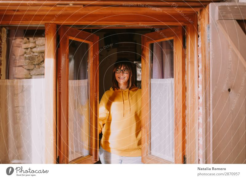 a young woman in opens windows Lifestyle Joy Happy Beautiful Wellness Relaxation Leisure and hobbies Vacation & Travel House (Residential Structure) Human being