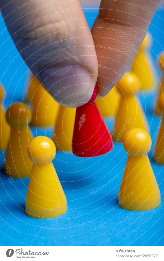 Be different! Workplace Economy Advertising Industry Career Success Team Sign Select Utilize Touch To hold on Together Uniqueness Blue Yellow Red Society