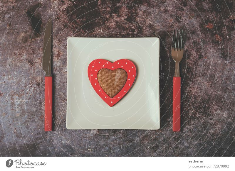 red heart on a white plate next to cutlery Nutrition Lunch Dinner Cutlery Fork Lifestyle Decoration Restaurant Feasts & Celebrations Couple Heart Diet Love