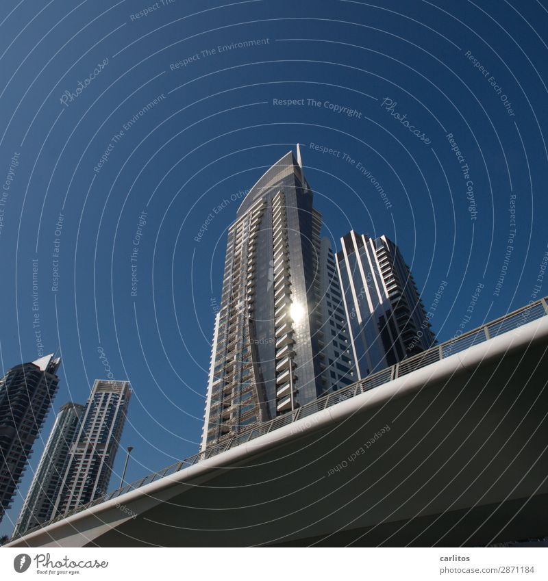 Oblique photo Dubai Dubai Marina United Arab Emirates Exhibition Bridge High-rise Facade Reflection Glittering Money Economy Might City Architecture