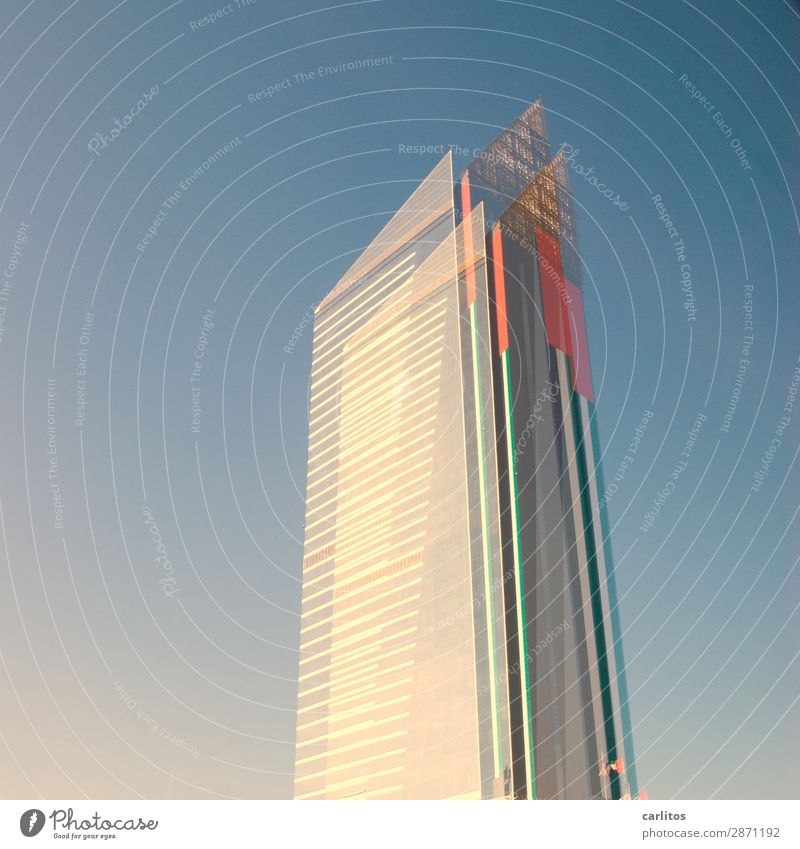 Red High-rise Point Money Capital city Financial institution Bank building Economy Double exposure City Financial Industry Gigantic Dubai Colossus