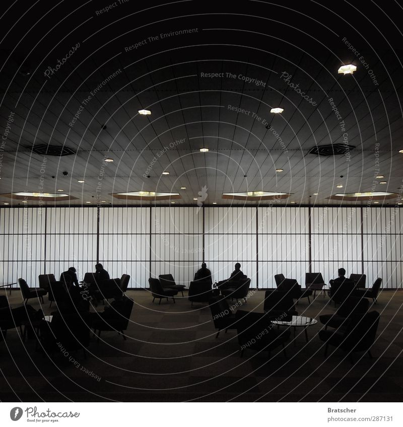 Dark Wall (building) To talk Business Hotel Meeting Trade Figure Japan Geometry Foyer Date Ceiling Agree Stage lighting Armchair