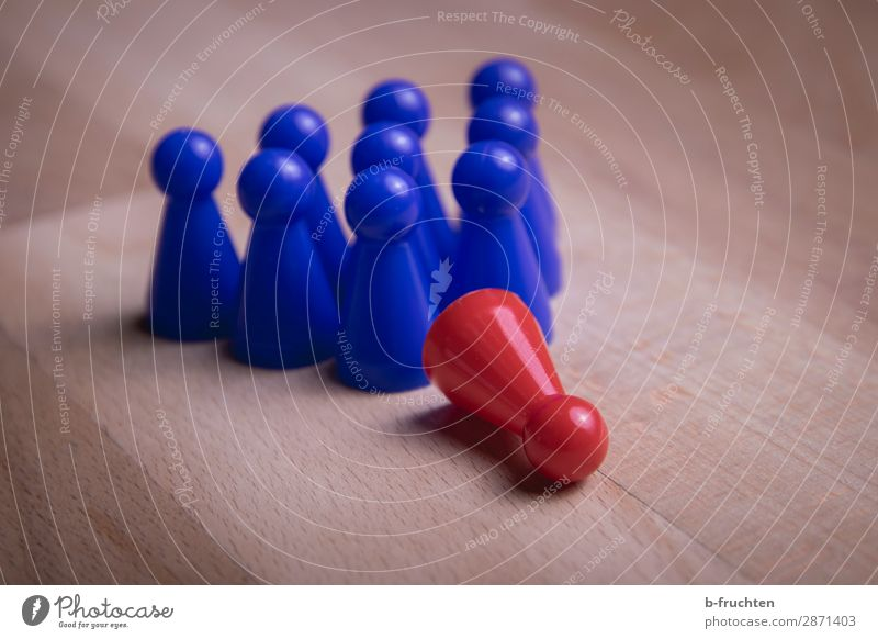 fallen down Economy Business Career Success Meeting Team Group Toys Sign Select Observe Wait Together Blue Red Equal Teamwork Tumble down Leader Conduct