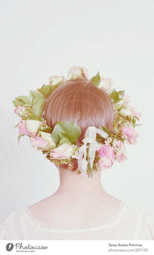! Feminine Young woman Youth (Young adults) Woman Adults Hair and hairstyles Back Nape 1 Human being 18 - 30 years Spring Flower Leaf Blossom Fashion Headwear