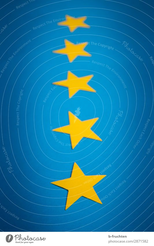Five stars Economy Gastronomy Business Success Stars Sign Select Lie Blue Yellow Star (Symbol) Recommendation 5 Row Handicraft European flag Quality