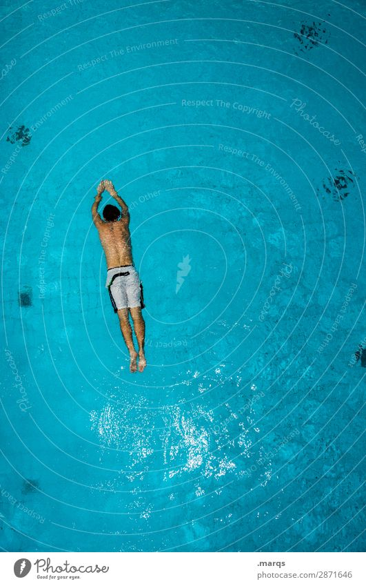 float Healthy Athletic Swimming & Bathing Leisure and hobbies Swimming pool Young man Youth (Young adults) 1 Human being Sports Perspective Colour photo
