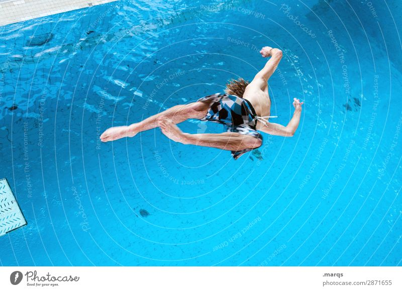 upside down Lifestyle Style Leisure and hobbies Sports Aquatics High diving High diver Swimming pool Human being Young man Youth (Young adults) 1