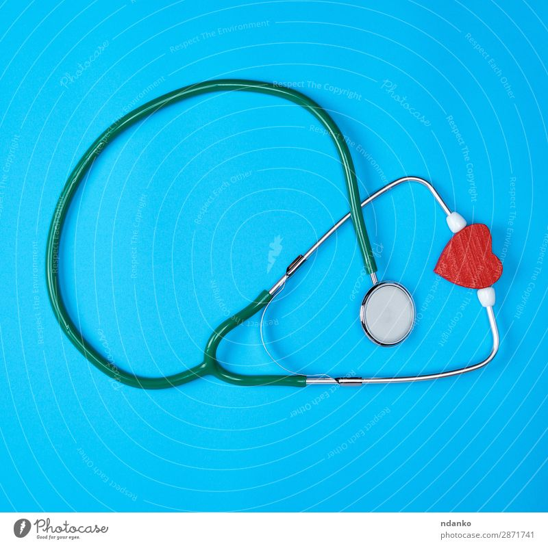 green medical stethoscope and red wooden heart Blue Green Red Healthy Health care Copy Space Modern Heart Idea Illness Listening Medication Doctor Tool Hospital