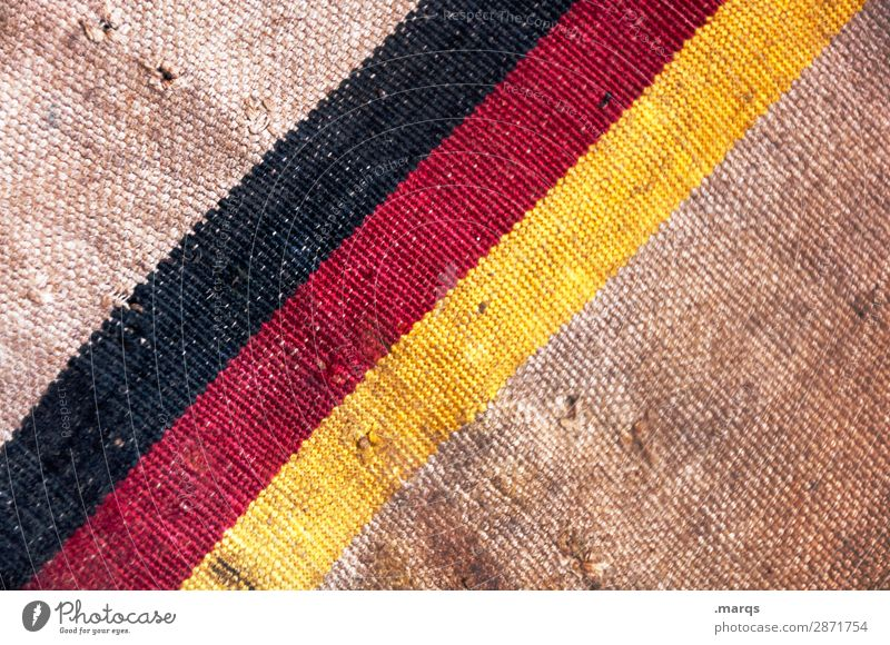 Flag on mailbag Logistics Services Mail German Flag Cloth Old Dirty Brown Yellow Red Black Politics and state Colour photo Exterior shot Detail