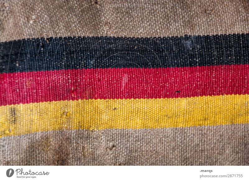 mailbag Jute sack Sign Flag Old Broken Politics and state Decline German Flag Mail Colour photo Close-up Deserted Copy Space top Copy Space bottom
